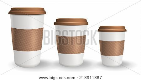 Set of to go and takeaway paper coffee cups in different sizes. Objects isolated on the white background. Collection of cups with lids and protective ripple sleeves.