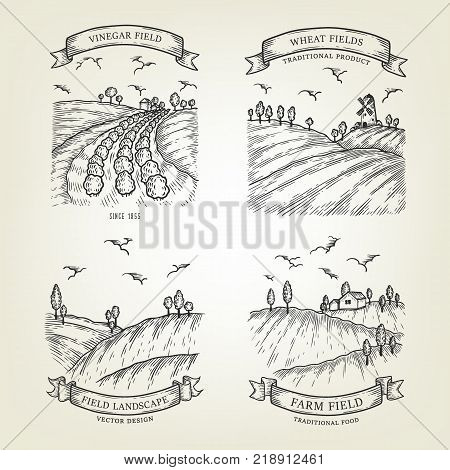 Set of farm landscapes with field views. Vector farmlands were done in graphic style, isolated on background. Outline countrysides are use as label, logo, emblem for advertising organic products.