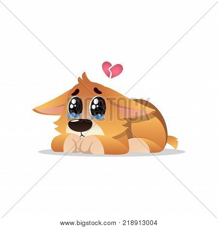 Abandoned little corgi with tears on eyes. Lonely puppy lies with broken pink heart over his head. Cartoon dog character. Domestic animal concept. Vector illustration in flat style isolated on white.