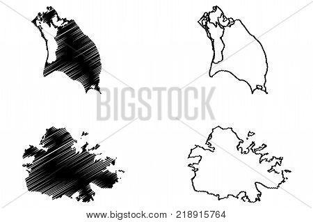 Antigua and Barbuda map vector illustration , scribble sketch Antigua and Barbuda Islands
