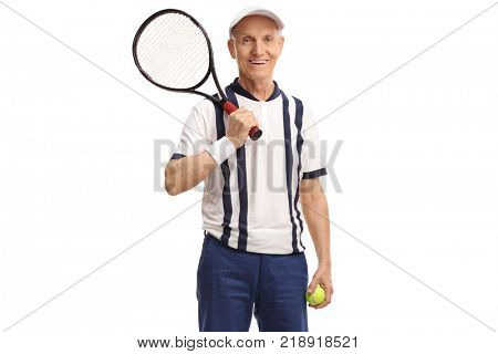 Old tennis player holding a racket and a tennis ball isolated on white background