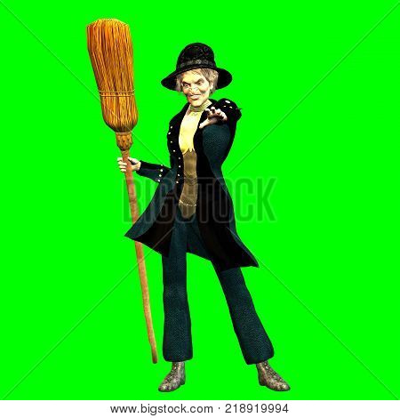 3D rendering on a chroma key background of befana standing with the broom