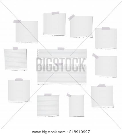 White ripped lined and blank note, notebook paper strips for text or message stuck with gray sticky tape on white background