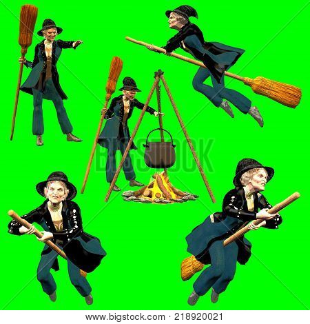 3d render in comic style on chroma key background of a collection of befana poses.