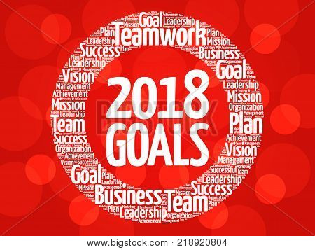 2018 Goals word cloud collage business concept background