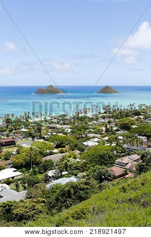 Mokulua Islands Over The Lanikai, Oahu, Hawaii