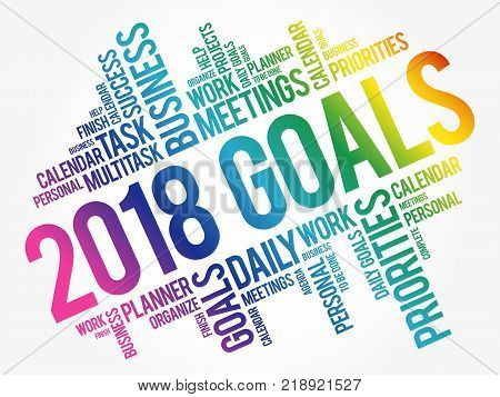 2018 Goals word cloud collage, business concept background