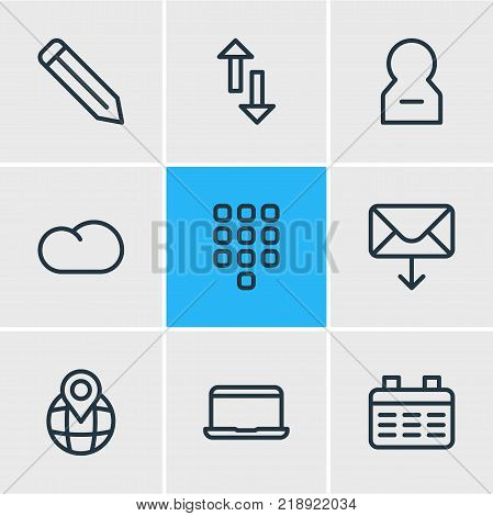 Vector illustration of 9 community icons line style. Editable set of cloud, pinpoint, pen and other elements.