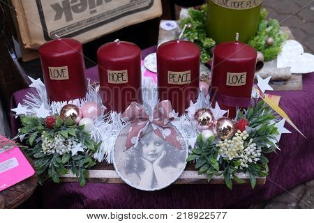 ZAGREB, CROATIA - 30 NOVEMBER, 2016: Advent wreaths for sale. Advent in Zagreb Fair was voted as the European Best Destination for 2016.