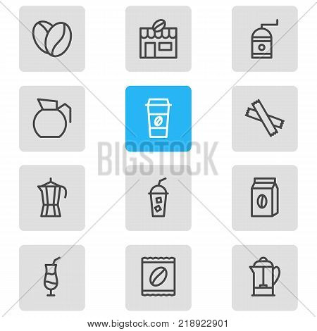 Vector illustration of 12 java icons line style. Editable set of decanter, seed, coffeemaker and other elements.
