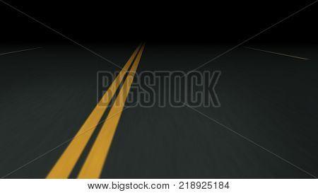 Endless night asphalt road with double dividing strip 3d illustration
