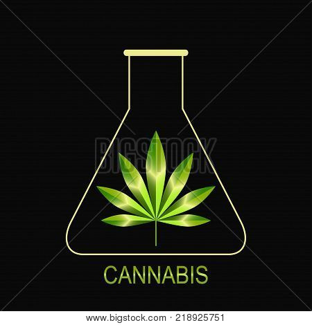 Cannabis leaf icon. Green flask with cannabis leaf, logo design.