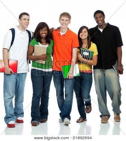 Multicultural College students, male and female waling on a white background