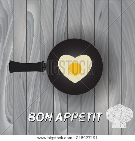 Heart shape fried egg on frying pan vector. Frying pan with fried eggs finished dish.  Bon Appetit!  Black frying pan.