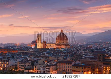 Beautiful views of Florence cityscape in the background Cathedral Santa Maria del Fiore at sunset in Italy Europe