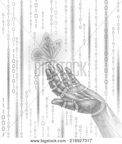 Butterfly on mechanical robot finger hand. Polygonal geometric innovation technology futurustic nature contrast concept. Binary code number android ecology vector illustration art