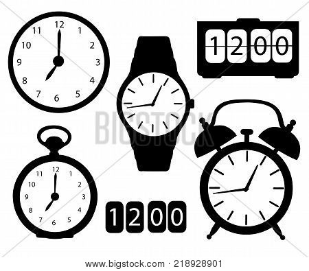 Set of black icon silhouette clocks and watches alarm digital electronic stopwatch wristwatch wall clock cartoon vector illustration isolated on white background website page and mobile app design.