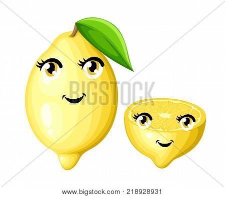 Fresh lemon with leaf and half a lemon cartoon smile fruits with eyes and mouth cartoon style vector illustration isolated on white background website page and mobile app design.