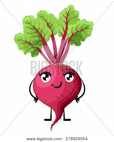 Fresh beet with leaf and smile face vegetable with eyes mouth hands and legs cartoon style vector illustration isolated on white background website page and mobile app design.