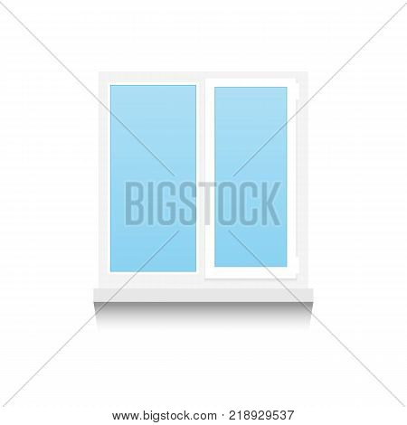 Realistic Plastic double-winged window on white background with shadows. Vector illustration.