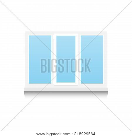 Realistic Plastic tricuspid window on white background with shadows. Vector illustration.