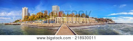 SOCHI, RUSSIA - November 21, 2015: View of the autumn city with a breakwater