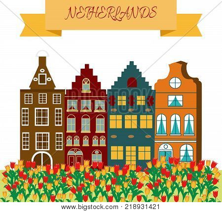 Holland travel cultural and sightseeing symbols frame background poster with tulips wooden clogs and windmills vector illustration poster
