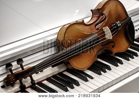 Violin piano keys on the background instrument, keyboard, melody,