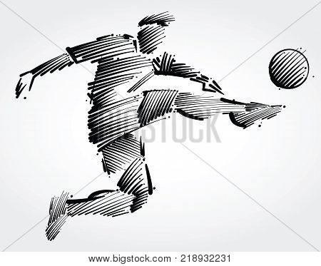 soccer player flying to kick the ball made of black brushstrokes on light background