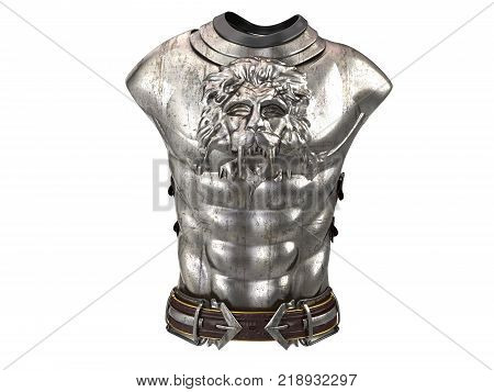 Medieval armor on the body in the style of a lion with large shoulder pads . 3d illustration
