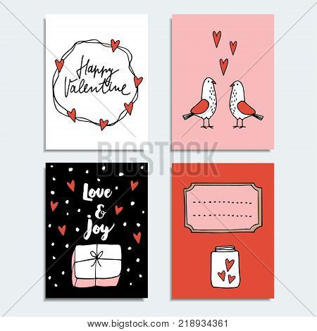Set of cute hand drawn Valentines day or wedding cards, invitations with couple of dove birds, gift and hearts, isolated vector objects, doodle sketches.