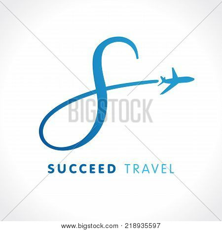 S letter success travel company logo. Airline business travel logo design with letter