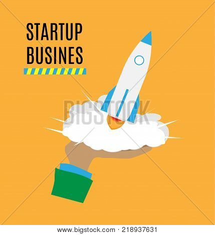 Successful launch of startup. Flat art style design for creative illustration of business startup. Startup technology concept. Vector illustration