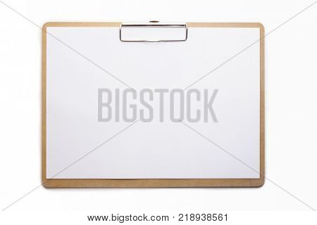 Horizontal clipboard with clean blank white paper. Isolated on pure white. High resolution.