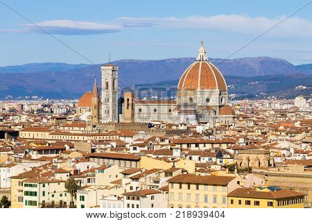 Florence aerial view. Florence Cathedral and Brunelleschi dome. Italian landmark tuscany