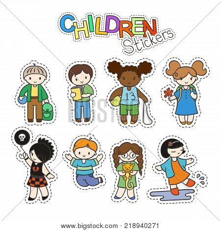 Set of cute doodle children in stickers. Kindergarten, camp, people collection.