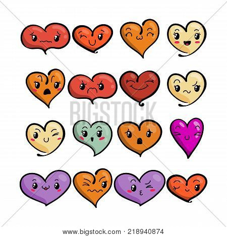 Set of cute lovely emoticons. Doodle kawaii face, sweet and childlike manga cartoon style. Vector valentines collection