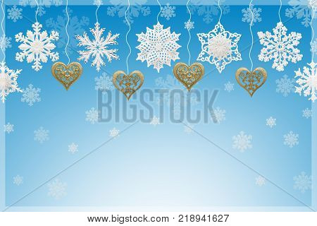 Christmas and New Year decorations: Christmassy fir-tree with snowflakes on blue background 3D illustration.