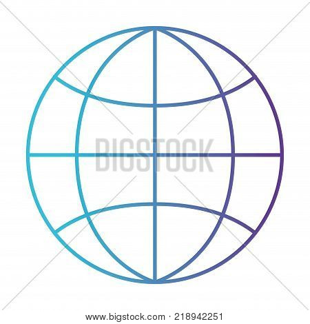 world globe flat icon in degraded blue to purple color contour vector illustration