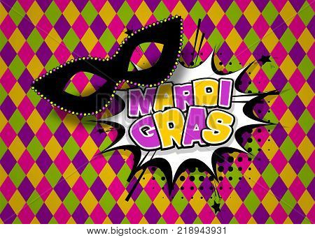 Speech bubble box colored comics text. Black mask carnival texture background. Mardi Gras - Fat Tuesday carnival carnival in a French-speaking country. Comic book cartoon vector illustration pop art.