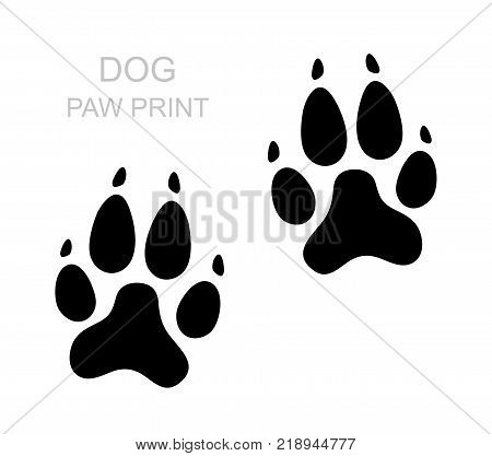 Dog paw. Black silhouette. Foot print. Animal paw isolated on white background. Vector illustration