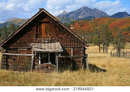 Old hunting cabin located in a remote area of Colorado