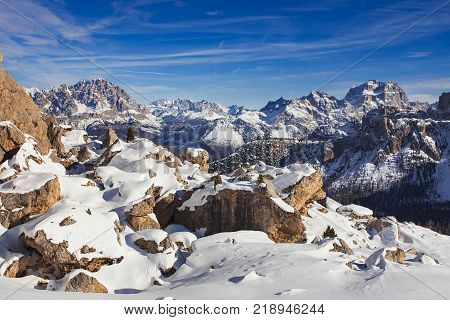 Snow covered pass in the Italian Dolomites, Winter landscape of Passo Giau under Averau peak, Belulo and Trentino area, Dolomites, South Tyrol, Italy