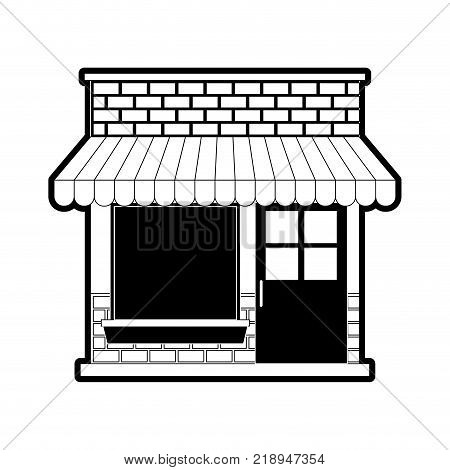 store facade with sunshade in black silhouette vector illustration