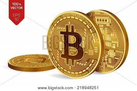 Bitcoin. 3D isometric Physical bit coin. Digital currency. Cryptocurrency. Three Golden coins with bitcoin symbol isolated on white background. Stock vector illustration