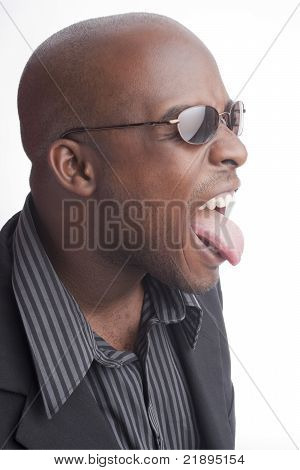 Black man sticking out his tongue