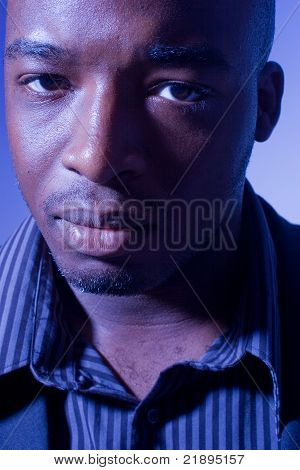 African American man with serious expresion