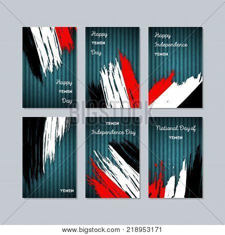 Yemen Patriotic Cards For National Day. Expressive Brush Stroke In National Flag Colors On Dark Stri