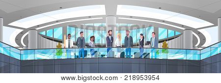 Modern Office Interior With Group Of Business People, Professionals Businessmen And Businesswomen Workplace Concept Horizontal Banner Flat Vector Illustration