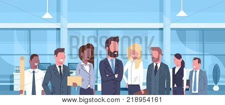 Group Of Business People In Modern Office Concept Team Of Successful Businessmen And Businesswomen Professionals At Workplace Flat Vector Illustration